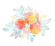 Aquarell-Rosen und Mimosen-Blumenstrauß Lizenzfreie Stockfotos