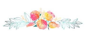 Aquarell-Rosen und Mimosen-Blumenstrauß Stockfoto