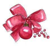Aquarell-rote Weihnachtsdekoration Stockbilder