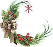 Aquarell-skandinavischer Weihnachtskranz Lizenzfreies Stockbild
