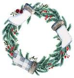 Aquarell-skandinavischer Weihnachtskranz Lizenzfreie Stockfotografie