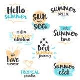Aquarell-Sommer-Fahnen und Aufkleber Lizenzfreie Stockbilder