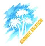 Aquarell-Sommer-Ferien-Palmen Stockfoto