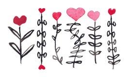 Aquarell-St.-Valentinsgruß ` s Tag-` blüht ` für geliebtes lizenzfreie abbildung