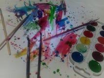 Aquarell und Farben Stockfoto