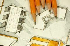 Aquarell und schwarze Tintenhandzeichenmalerei des Esszimmers des flachen Grundrisses der Wohnung mit scharfe Bleistifte Lizenzfreie Stockfotos