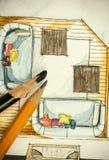 Aquarell und schwarze Tintenhandzeichenmalerei des Esszimmers des flachen Grundrisses der Wohnung mit scharfe Bleistifte Lizenzfreie Stockbilder