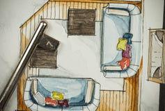 Aquarell und schwarze Tintenhandzeichenmalerei des flachen Grundrisswohnzimmers der Wohnung mit einem glänzenden Metallschlüssel stock abbildung