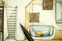 Aquarell und schwarze Tintenhandzeichenmalerei des flachen Grundrisswohnzimmers der Wohnung mit scharfe Bleistifte Lizenzfreie Stockfotografie