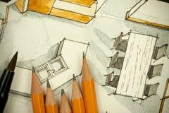 Aquarell und schwarze Tintenhandzeichenmalerei des flachen Grundrisswohnzimmers der Wohnung mit scharfe Bleistifte Lizenzfreies Stockfoto