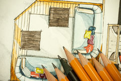 Aquarell und schwarze Tintenhandzeichenmalerei des flachen Grundrisswohnzimmers der Wohnung mit vielen scharfen Bleistiften lizenzfreie abbildung