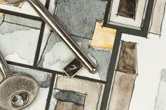 Aquarell und schwarze Tintenhandzeichenmalerei von flachen Grundrissbetriebsräumen der Wohnung mit glänzenden Metallschlüsseln Stockfotos