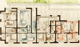 Aquarell- und Tintenhandzeichen drei dimentional 3D Zeichnung des flachen Grundrisskondominiums der Wohnung Stockbilder