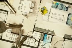 Aquarell- und Tintenhandzeichenzeichnung des flachen Grundrisses der Wohnung Stockfotografie