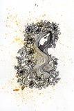Aquarell- und Tintenmädchen mit Blumenillustration Stockbild