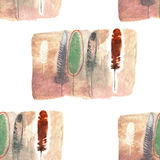 Aquarell versieht Illustration mit Federn Lizenzfreies Stockfoto