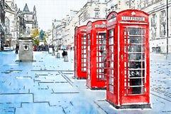 Aquarell von 3 roten Telefonkästen in einer Straße Stockfotografie