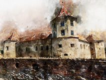 Aquarell von rumänischen Marksteinen - mittelalterliches Schloss Fagaras Stockfotos