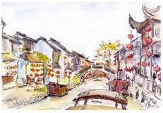 Aquarell - Wasserkanal in der alten Stadt in China Rote Laternen Lizenzfreie Abbildung