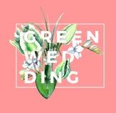 Aquarell-weiße Tulpen-Zusammensetzung Grüne Hochzeit Stockfotos