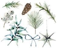 Aquarell-Weihnachtsanlagen und -dekor Handgemalte Tannenzweige, Eukalyptusblätter, weiße Beeren, Stern, Tannenzapfen, Bogen stock abbildung