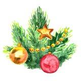 Aquarell-Weihnachtsbaumast mit Bällen Handgemalte Tannenadel lokalisiert auf weißem Hintergrund Lizenzfreie Stockfotos