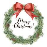 Aquarell-Weihnachtsbaumkranz mit rotem Band Handgemalter Tannenzweig mit dem Kiefernkegel lokalisiert auf weißem Hintergrund lizenzfreie abbildung