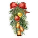 Aquarell-Weihnachtsbaumzusammensetzung mit Dekor Handgemalter Tannenzweig mit Weihnachtsbällen und Glocken, rotes Band vektor abbildung