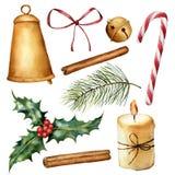 Aquarell-Weihnachtsbetriebs- und -dekorsatz Handgemalte Kerze, Stechpalme, Glocken, Bogen, Zimt, Zuckerstange, Weihnachtsbaum Stockfoto