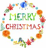 Aquarell-Weihnachtsblumen- und Tierrahmen mit Text Lizenzfreie Stockfotos