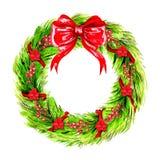 Aquarell-Weihnachtskranz Stockfoto