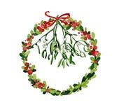 Aquarell-Weihnachtskranz Lizenzfreie Stockfotos