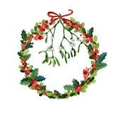 Aquarell-Weihnachtskranz Lizenzfreies Stockbild
