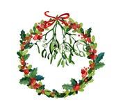 Aquarell-Weihnachtskranz Lizenzfreie Stockfotografie