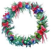 Aquarell-Weihnachtskranz lizenzfreie abbildung