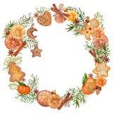 Aquarell-Weihnachtskranz mit Lebkuchenplätzchen Hand gezeichnete Weinleseillustration stock abbildung
