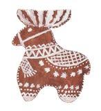 Aquarell-Weihnachtslebkuchen in Form eines Rotwilds in der weißen Glasur lizenzfreie stockfotografie