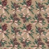 Aquarell-Weihnachtsnahtloses Muster Stockfotos