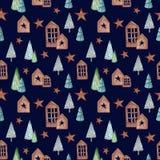 Aquarell-Weihnachtsnahtloses Muster Lizenzfreie Stockfotos