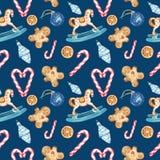 Aquarell-Weihnachtsnahtloses Muster mit Symbolen von Winterurlauben, Lebkuchenplätzchen, Zuckerstange, Schaukelpferdverzierung, g stockbilder