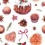 Aquarell-Weihnachtsnahtloses Muster mit traditionellem Pudding vektor abbildung