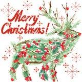 Aquarell-Weihnachtsren Text der Wunsch-frohen Weihnachten lizenzfreie abbildung