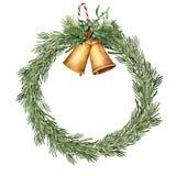 Aquarell-Weihnachtsrosmarinkranz Handgemalte Rosmarinniederlassung mit Glocken, Stechpalme, Mistelzweig, Süßigkeit und Weihnachte Stockfoto
