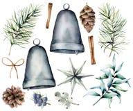 Aquarell-Weihnachtsskandinavischer Dekor Handgemalte Tannenzweige und Kegel, silberne Glocken, Stern, Wacholderbusch, Snowberry vektor abbildung