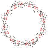 Aquarell-Winterkranz mit trockenen Niederlassungen und roten Beeren Lizenzfreie Abbildung