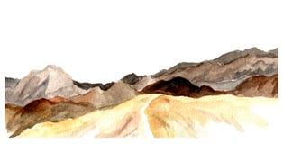 Aquarellansicht von Bergen Stock Abbildung