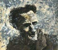Aquarellanstrich eines lächelnden Mannes Stockfotos