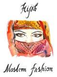 Aquarellaraber hijab stock abbildung