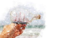 Aquarellart und abstraktes Bild des Mannes übergeben das Halten eines Bootes vor Seelandschaft Lizenzfreie Stockbilder