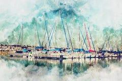 Aquarellart und abstraktes Bild des Seekonzeptes mit altem Stockbilder